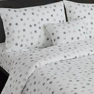 Grey and White Stars Toddler Bedding