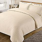 Dreamscene Satin Stripe Quilt Duvet Cover with Pillow Case Single Double King - Cream