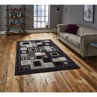 Hudson Square Black & Purple Runner - 60x220cm