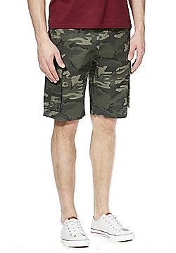 F&F Camo Print Cargo Shorts with Belt - Khaki