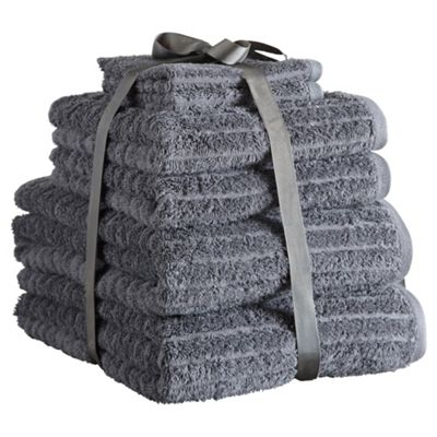 Hotel Egyptian Cotton Ribbed 6 Piece Towel Bale - Charcoal