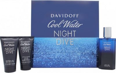 Davidoff Cool Water Night Dive Gift Set 75ml EDT + 50ml Shower Gel + 50ml Aftershave Balm For Men