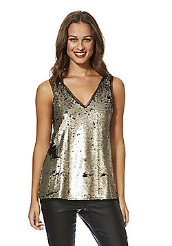 Vila Sequin V-Neck Sleeveless Top - Gold & Black