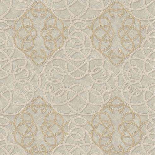 Boutique Ribbon Dance Geometric Gold Metallic Wallpaper