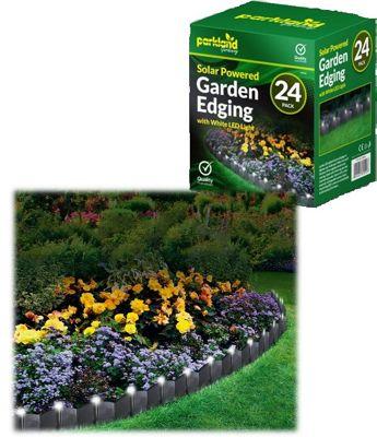 24 x Solar Powered Light Up Garden Lawn Edging - White Led