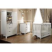 Obaby Stamford Mini Cot Bed 4 Piece Pocket Sprung Mattress Nursery Room Set - White