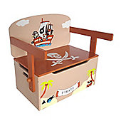 Kiddi Style Childrens Pirate Themed Wooden Convertible Toy Box & Bench - Brown