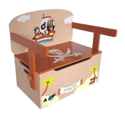 Kiddi Style Childrens Pirate Themed Wooden Convertible Toy Box U0026 Bench    Brown