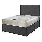 Happy Beds Ortho Royale Mattress Divan Bed Set Plain Headboard Charcoal