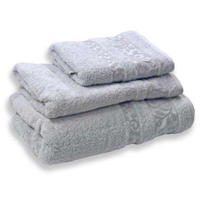 Homescapes Grey Turkish Cotton Bath Towel Scroll Design