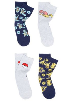 Pokemon 4 Pair Pack of Character Ankle Socks Multi Adult Shoe 4-6 1/2