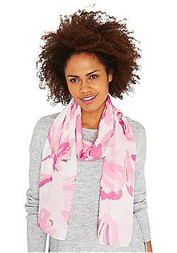 F&F Metallic Foil Floral Print Scarf - Pink