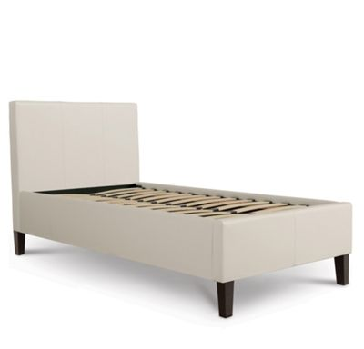 Luxury Leather Bed Upholstered in Faux Leather - Single - White