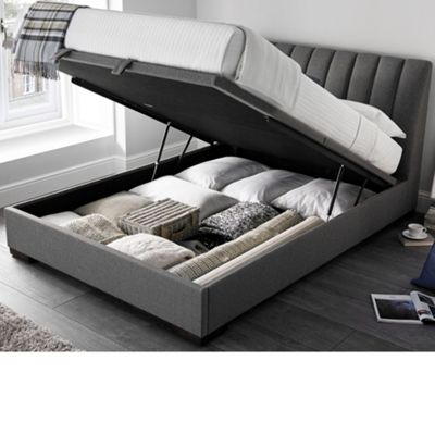 Happy Beds Lanchester Fabric Ottoman Storage Bed - Grey - 4ft6 Double