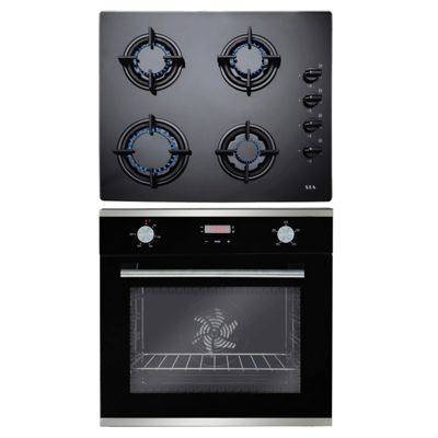 SIA 60cm Touch Control Black Electric Fan Oven & 4 Burner Gas on Glass Hob