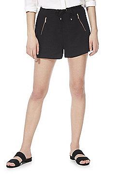F&F Zip Trim Linen-Blend Shorts - Black