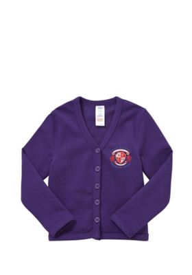 Unisex Embroidered Cotton Blend School Sweatshirt Cardigan with As New Technology 9-10 years Purple