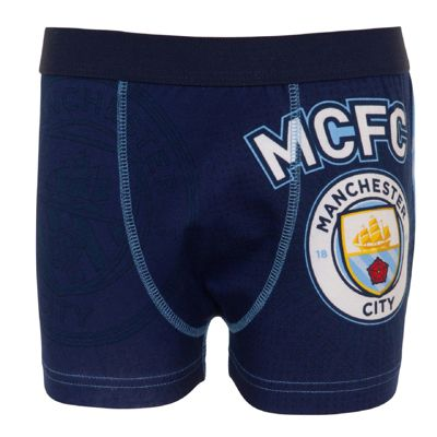 Manchester City FC Boys Boxer Shorts Blue 5-6 Years