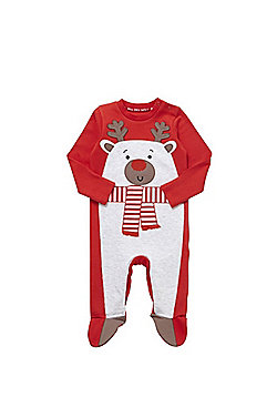 F&F Reindeer Christmas Sleepsuit - Red