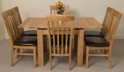 Richmond Small Extending Solid Oak Dining Table with 6 Solid Oak Leather Chairs