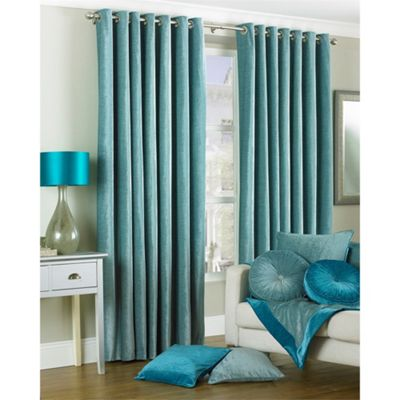 Riva Home Wellesley Duck Egg Eyelet Curtains - 66x72 Inches (168x183cm)