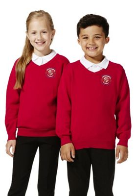 Unisex Embroidered V-Neck Cotton School Jumper with As New Technology 13-14 years Red