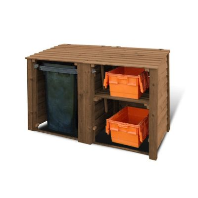 Morcott wooden double combo bin storage unit