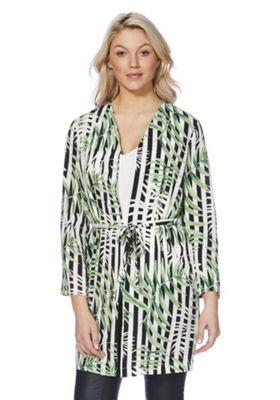 Only Striped Leaf Print Kimono Jacket Green Multi 38 Chest regular length