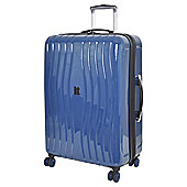 IT Luggage Gloss 8 wheel Hard Shell Poseidon Blue Medium Suitcase