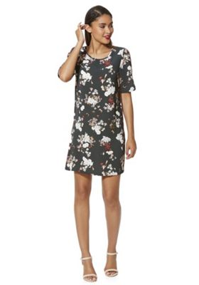 Only Piped Floral Print Dress XS Forest green