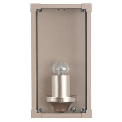 Taupe Metal & Glass Box Outdoor Wall Light Contemporary Style