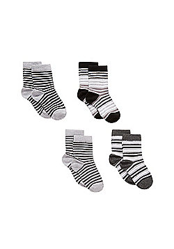 B Baby Newborn Boy's Grey and Black Stripy Socks - 4 Pack Size 0-6 months