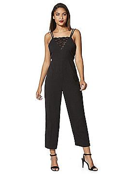 Fashion Union Lace Detail Strappy Jumpsuit - Black
