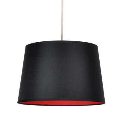 Black Ceiling Pendant Light Shade & Red Inner
