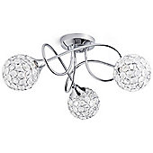 Jewel 3 Bulb Twist Ceiling Light, Chrome