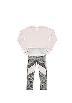 F&F Mesh Hem Sweatshirt and Colour Block Leggings Set - Pink