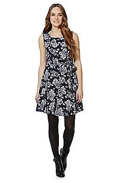 Mela London Rose Print Sleeveless Skater Dress - Black