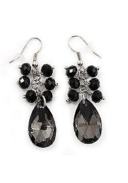 Black Teardrop-Shaped Acrylic Bead Earrings (Silver Tone Metal) - 5cm Length