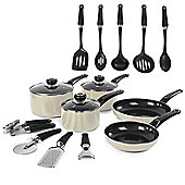 Morphy Richards 5 piece Pan Set with 9 Piece Tool Set - Cream