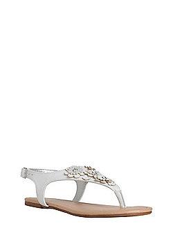 F&F Embellished Floral Toe Post Sandals - White