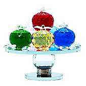 Unique Rotating Multi-Coloured Crystal Glass Fruit Stand with Lower Clear Sphere