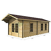 10ft x 23ft (3m x 7m) Extented Log Cabin - Double Glazing (34mm wall thickness)