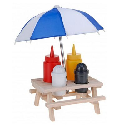 Picnic Table Condiment Set With Umbrella