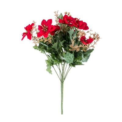 Homescapes Artificial Christmas Flowers Red Poinsettia and Eucalyptus Bush
