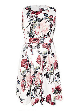 Samya Rose Print Fit and Flare Dress - White