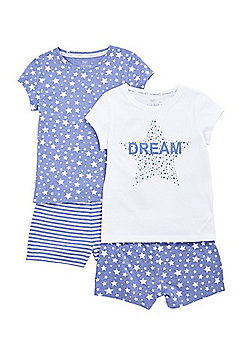 F&F 2 Pack of Dream and Star Print Pyjama Sets - Blue