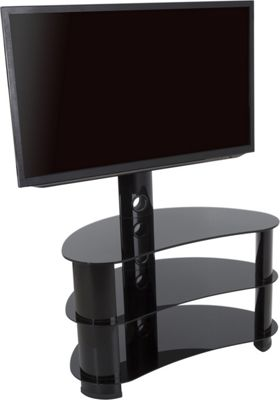 AVF 60 Inch Reflections - Jelly Bean Curved Pedestal TV Stand - Black