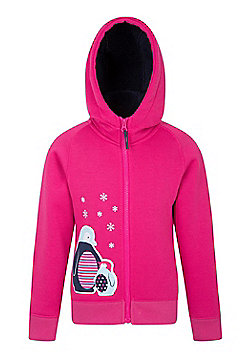 Mountain Warehouse Applique Kids Fur Lined Hoody IsoTherm Sherpa Fleece Lining - Berry