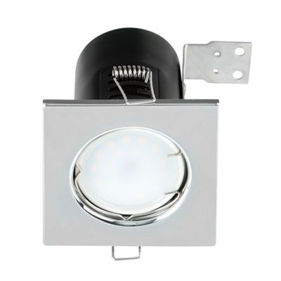 Square Fire Rated GU10 Downlight, Chrome