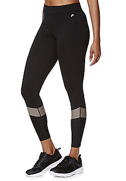 F&F Active Mesh Foil Print Leggings - Black